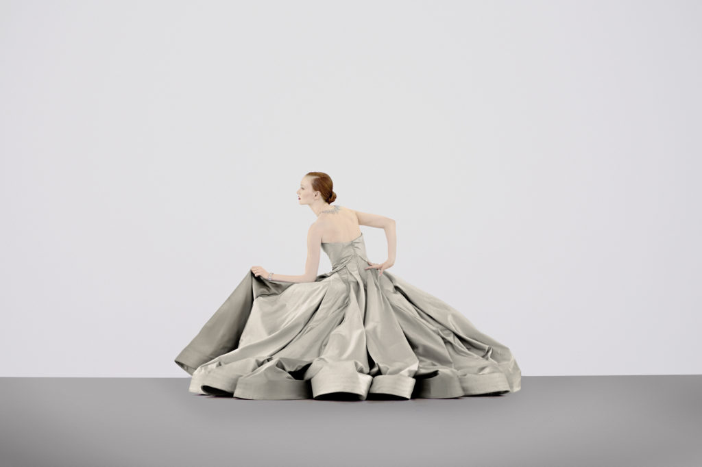 Photographed exclusively for PaperCity by Scogin Mayo, April 2014, at The Menil Collection's Richmond Hall, Dan Flavin permanent installation. Zac Posen's Charles James-inspired duchess satin ball gown $13,990, to order at Saks Fifth Avenue. Contemporary 20-carat diamond bib necklace in 18K white gold, and circa-1960s Bulgari bracelet, both price upon request, at Tenenbaum & Co.