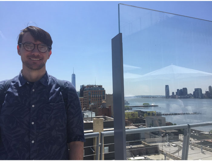 Jon Hopson in the clear, blue yonder of the new Whitney. Photo Debra Barrera.