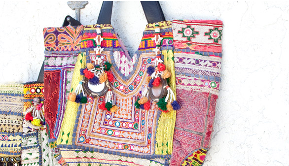 Vintage totes from India, part of Chan Luu Bazaar