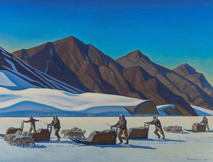 "Late American master Rockwell Kent's scene from his Greenland travels, ""Polar Expedition,"" 1944, was originally a commission for Encyclopedia Britannica. It achieved a new record — $605,000, more than double its estimate — May 2, 2015, in Dallas, when sold as part of the Judson C. and Nancy Sue Ball Collection."