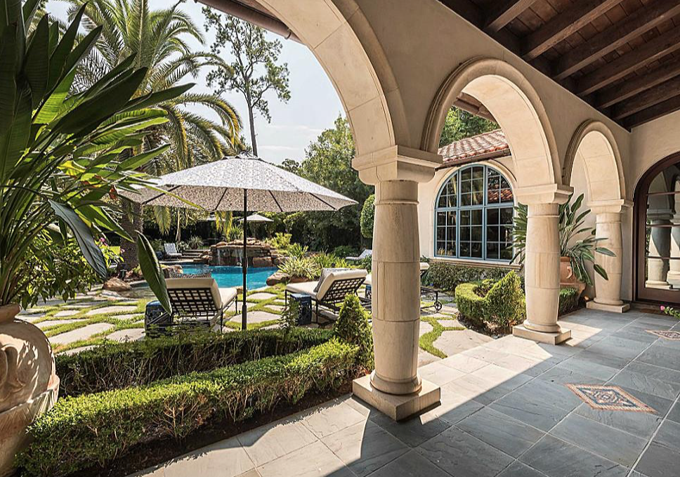 The Mediterranean influence in the Lady Gaga mansion is apparent in the pool area.