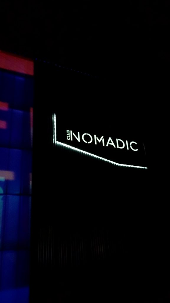 An outside sign for Club Nomadic, after the crowds left the venue Friday night. (Photo Matthew Ramirez)