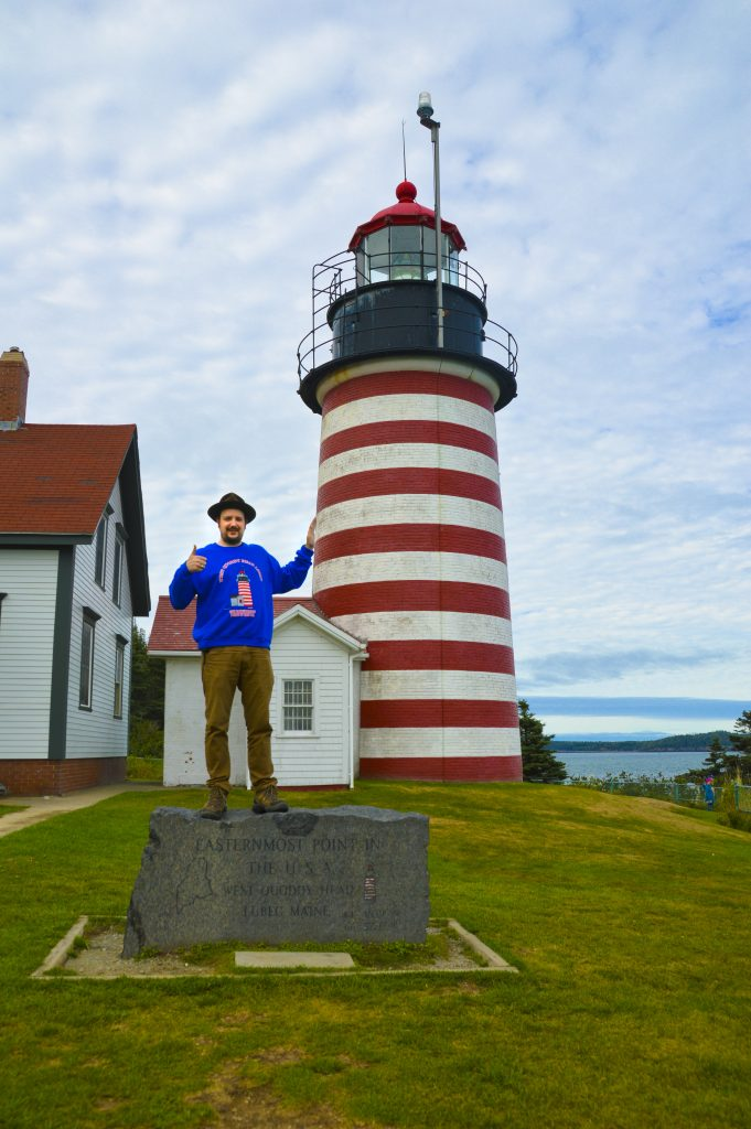 Daniel at the West Quoddy Head Lighthouse in Maine