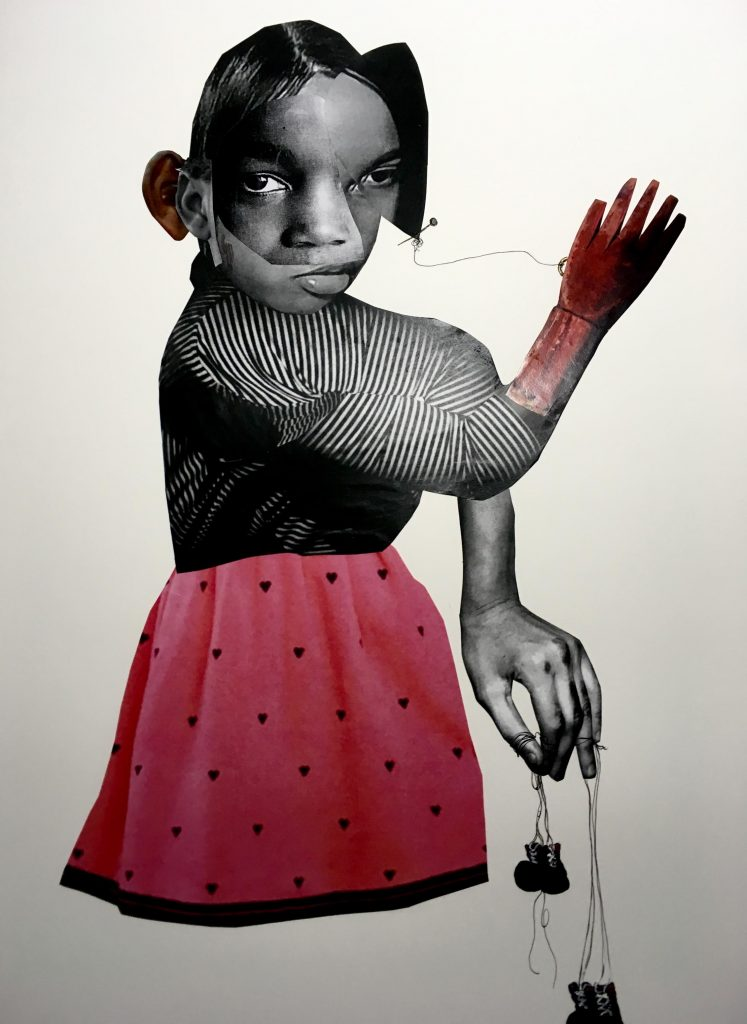 """Deborah Roberts' """"Untitled,"""" 2017, at Art Palace. Roberts was among the most critically acclaimed at the Volta fair in NYC this spring, again presented by Art Palace."""