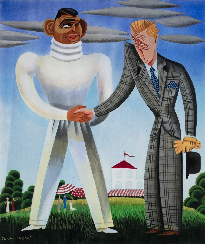 """Miguel Covarrubias' """"Clark Gable vs. Edward, Prince of Wales,"""" from the """"Impossible Interviews"""" series in """"Vanity Fair,"""" 1932, at the Dallas Museum of Art (Collection Vicky and Marcos Micha Collection, Mexico)"""