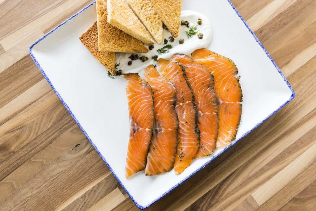 Start your meal with one of Star Fish's many small plates like the gravlax.