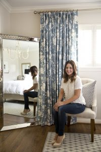 Knapp selected beautiful blue and white curtains for the master bedroom, in partnership with The Shade Store