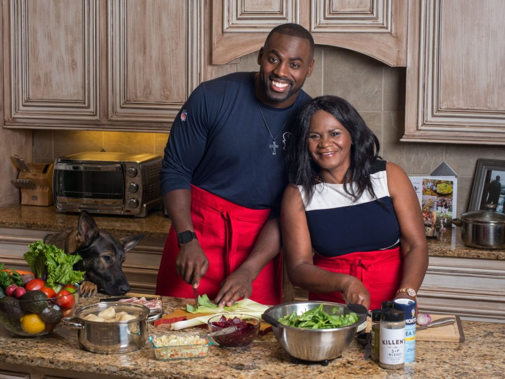 Houston Texans Whitney Mercilus and his mom for IW Marks
