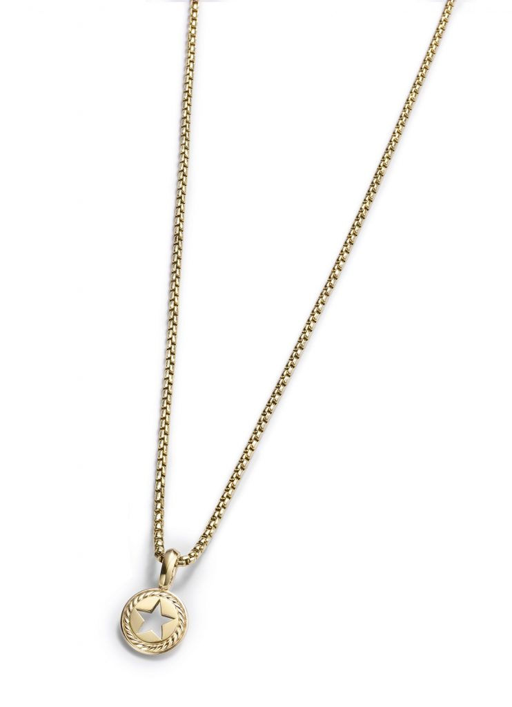 David Yurman Lone Star Amulet in 18K gold, $990