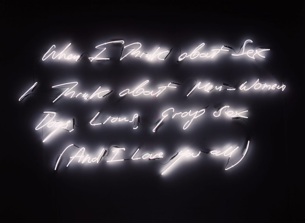 """When I Think About Sex I Think About Men, Women, Dogs, Lions, Group Sex (And I Love You All),"" Tracey Emin, 2005."