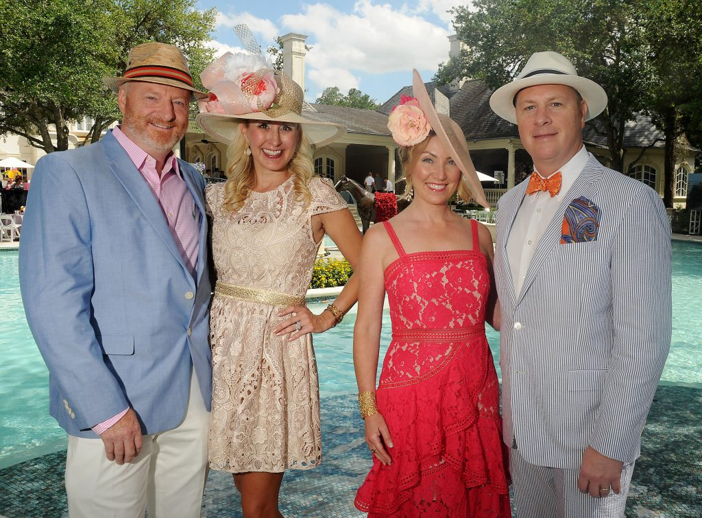 From left: Honorary chairs Richard Hancock, Jennifer Hancock, Jane Shine and David Shine at Hats, Hearts & Horseshoes: A Kentucky Derby Affair benefitting Bo's Place at the home of Paige and Tilman Fertitta Saturday May 05,2018.(Dave Rossman Photo)