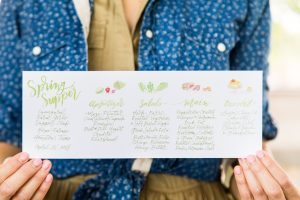 The dinner was filled with special touches, like this watercolor menu by Nancy Bihlmaier of Nancy B. Creative