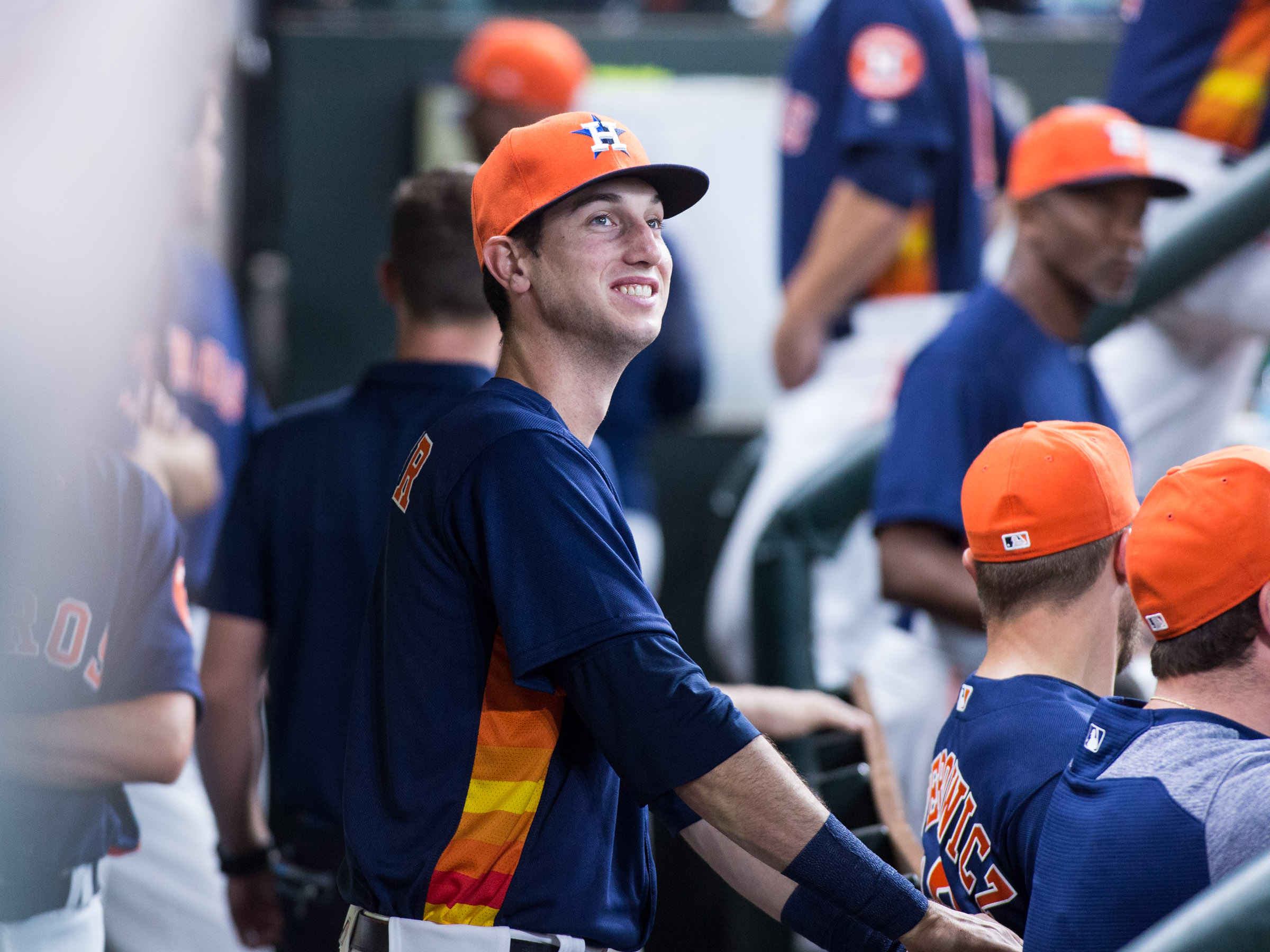 Astros rookie Kyle Tucker smile