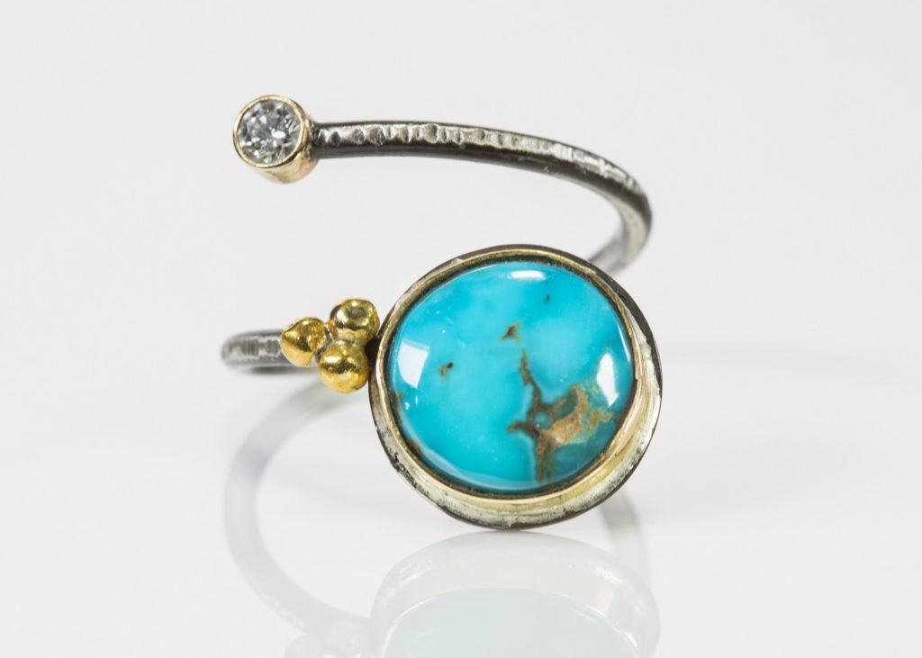 Bourne Jewelry's candelaria turquoise and diamond ring, 2018 (Silver Street, Studio 318)