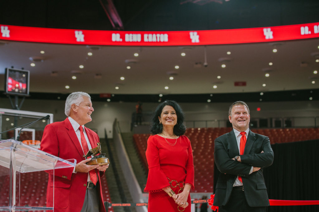 Bill Worrell played emcee for Renu Khator and Tilman Fertitta's big moment. (Photo courtesy University of Houston.)