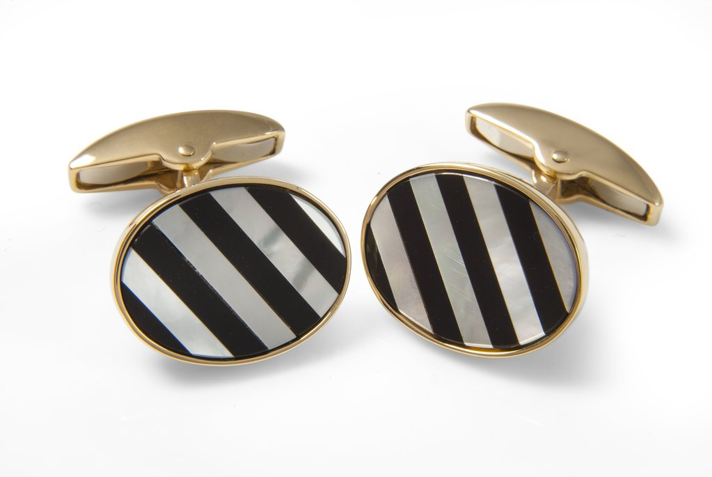 Deakin & Francis Yellow gold cufflinks with striped mother-of-pearl and onyx gemstones, $5,075