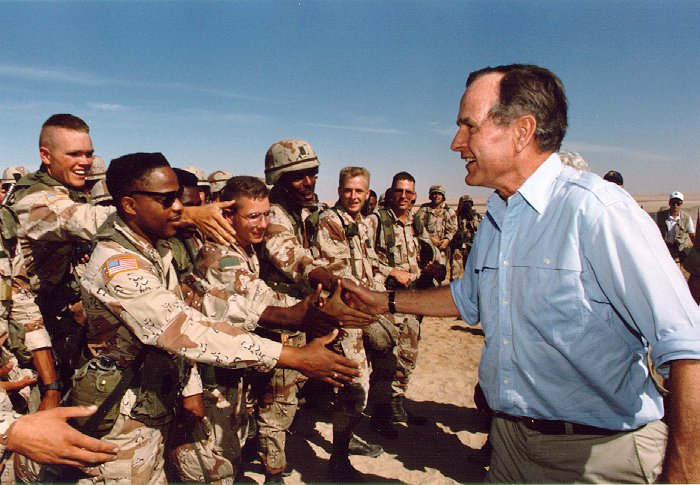 george h. w. bush saudi arabia visit troops