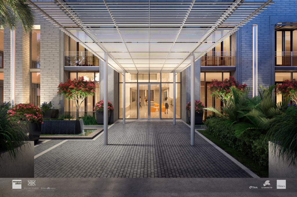 La Colombe d'Or Hotel & Residences Canopy Connector; Rendering Courtesy of Munoz + Albin