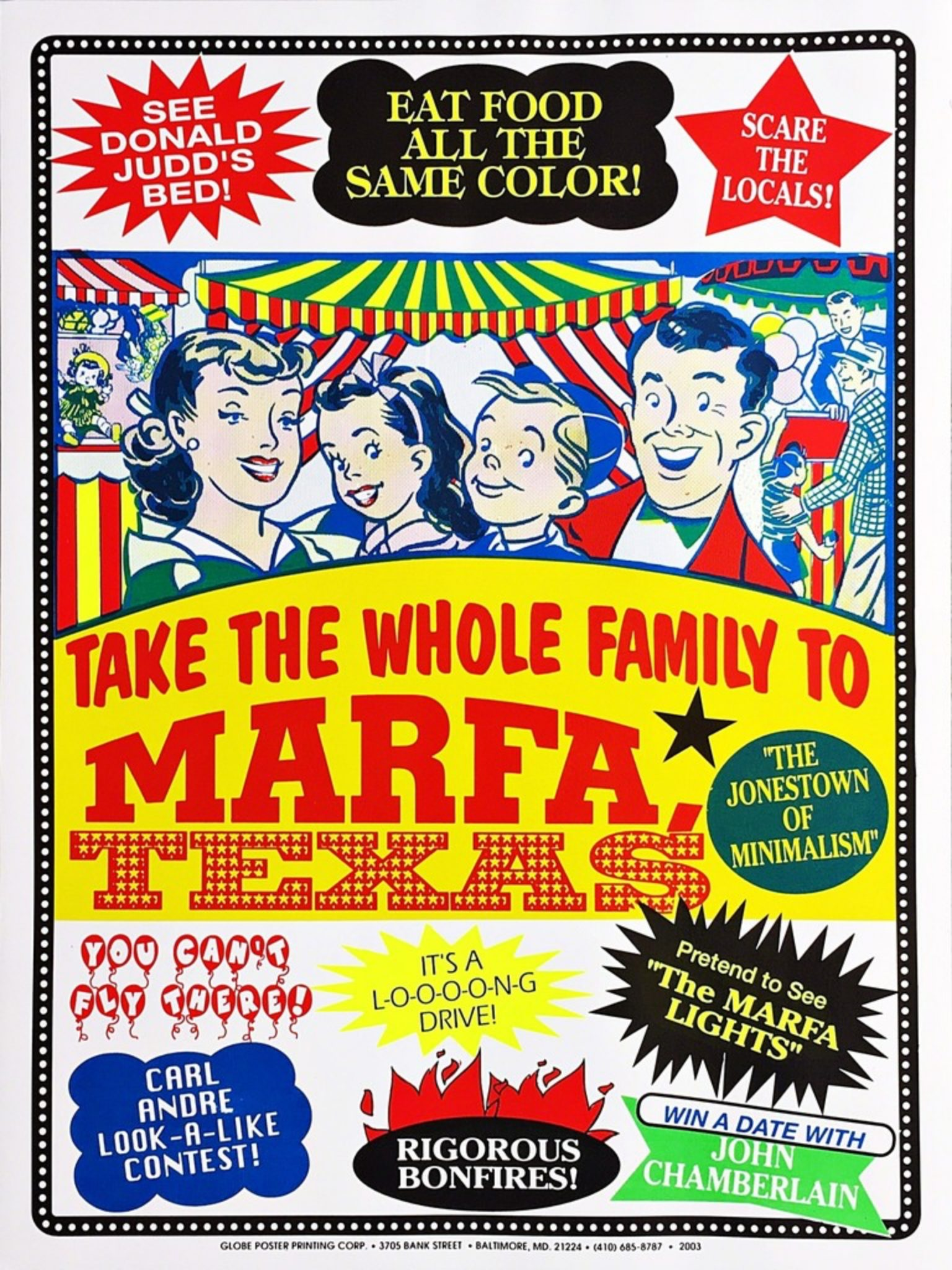 "John Waters' ""Welcome to Marfa,"" 2003, at Alpha 137 Gallery"