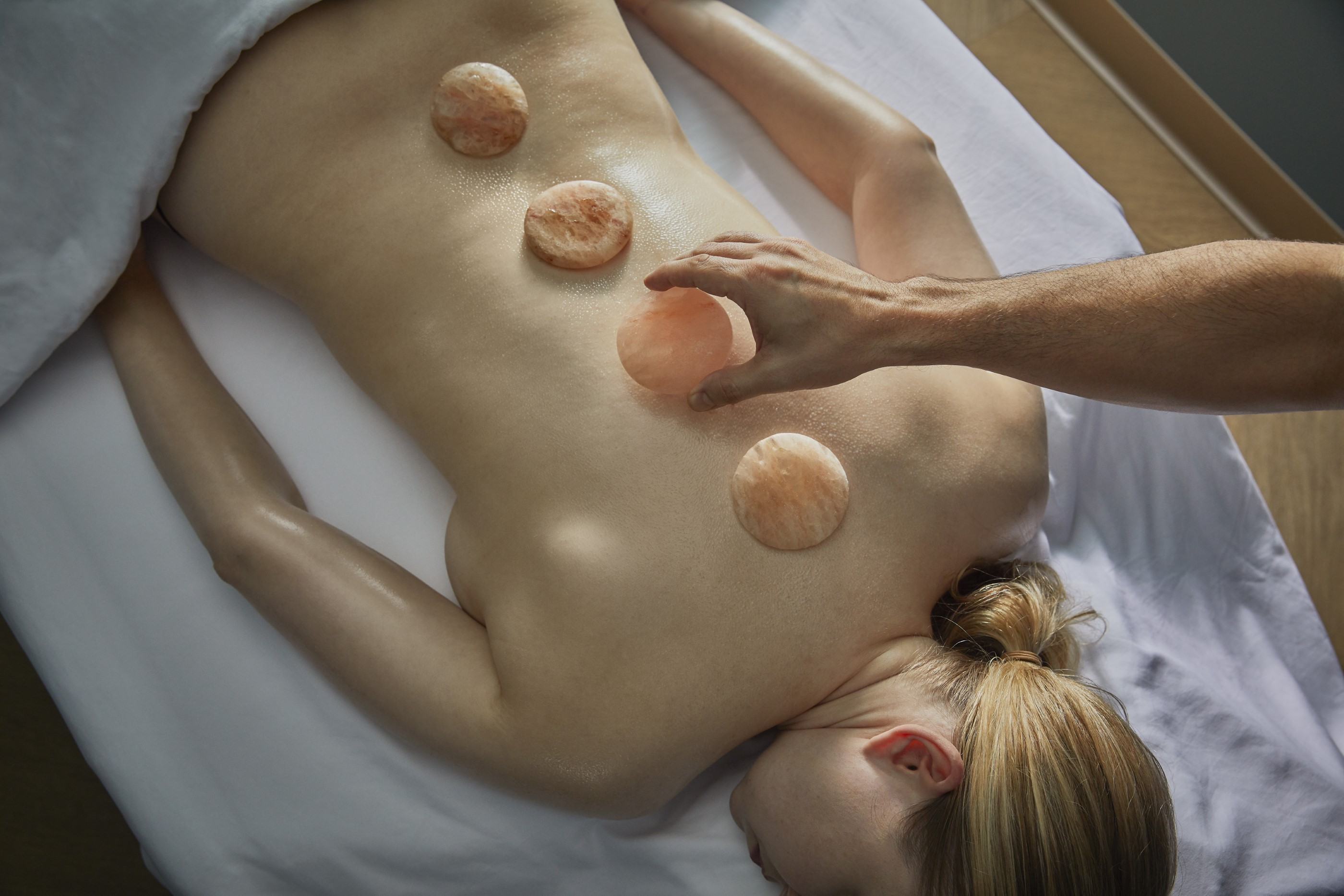 Massage Placing Salt Stone