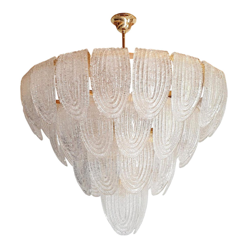 Large Mid-Century Modern translucent Murano glass chandeliers by Mazzega