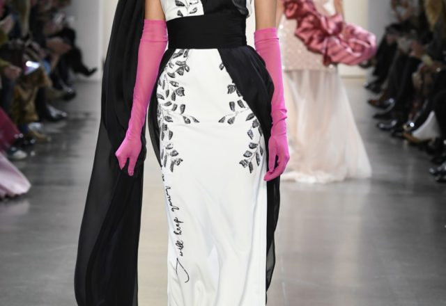 Bibhu Mohapatra ivory and onyx sari gown with black and silver gota embroidery. (Photo by Yannis Vlamos/Indigital.tv)