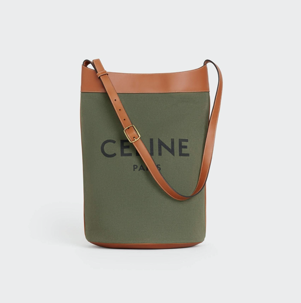 mens summer accessories Medium soft bucket bag in textile, $1,300, available at Celine boutiques and Celine.com