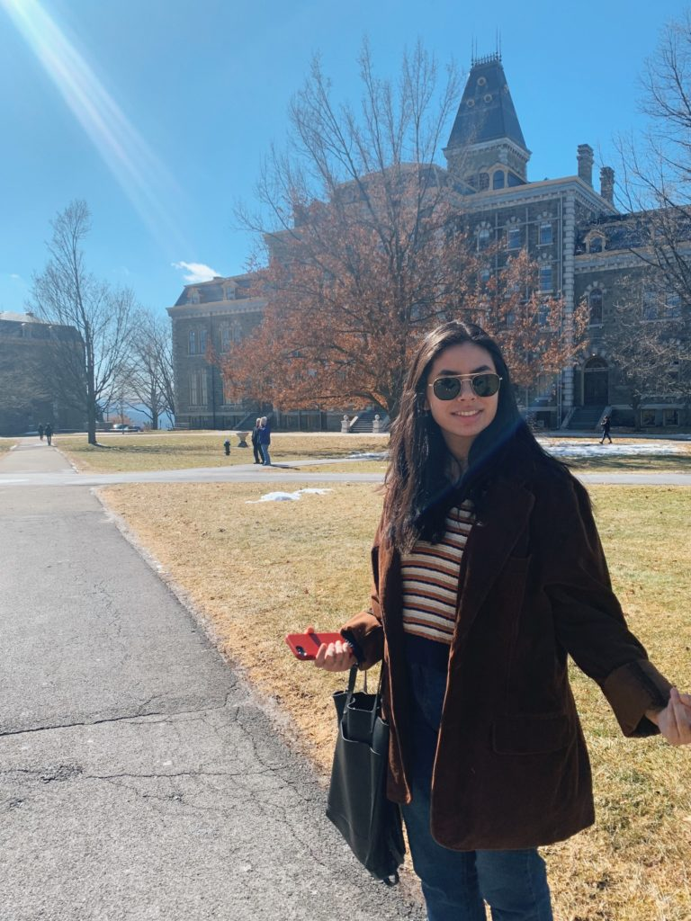 Andrea Anaya at Cornell before returning home for her spring semester online