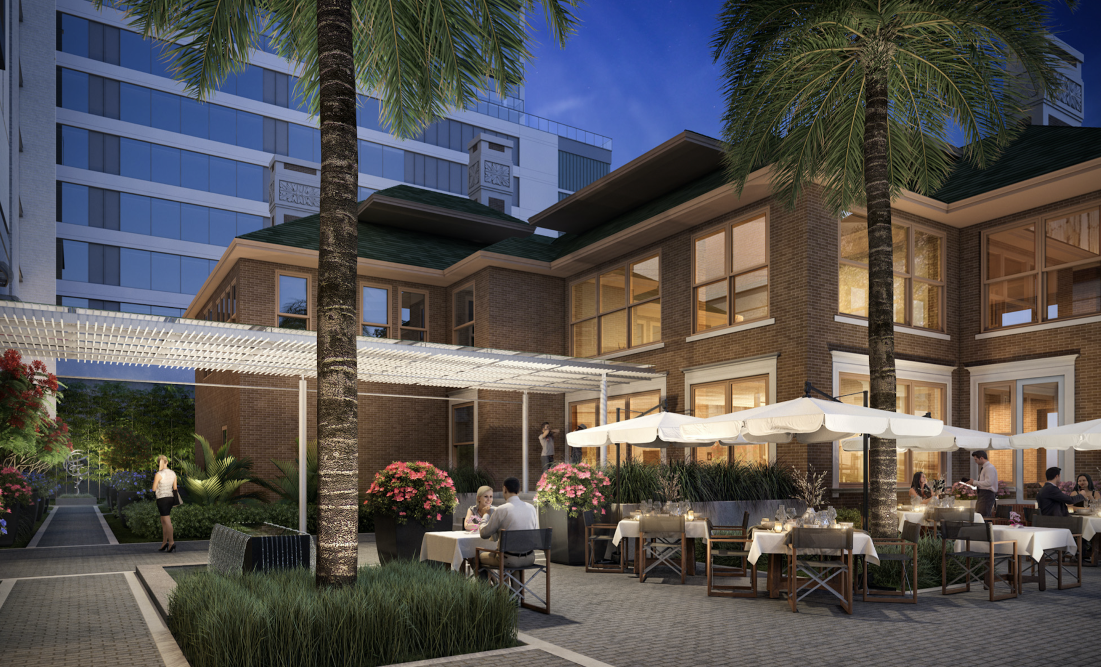 Al fresco dining at the refreshed La Colombe d'Or Hotel, reopening Fall 2020 in the heart of Montrose and the Houston Museum District. (Rendering courtesy of Munoz + Albin Architecture & Planning)