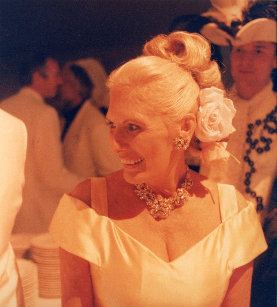 Legendary Dallas antiquarian Betty Gertz at a ball given by Axel Vervoordt at his castle, Gravenwezel, outside Antwerp Belgium.