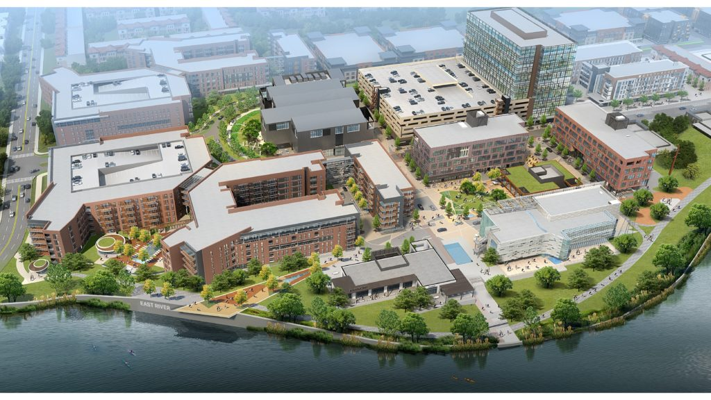 East River Phase One aerial view; Rendering Courtesy of Midway