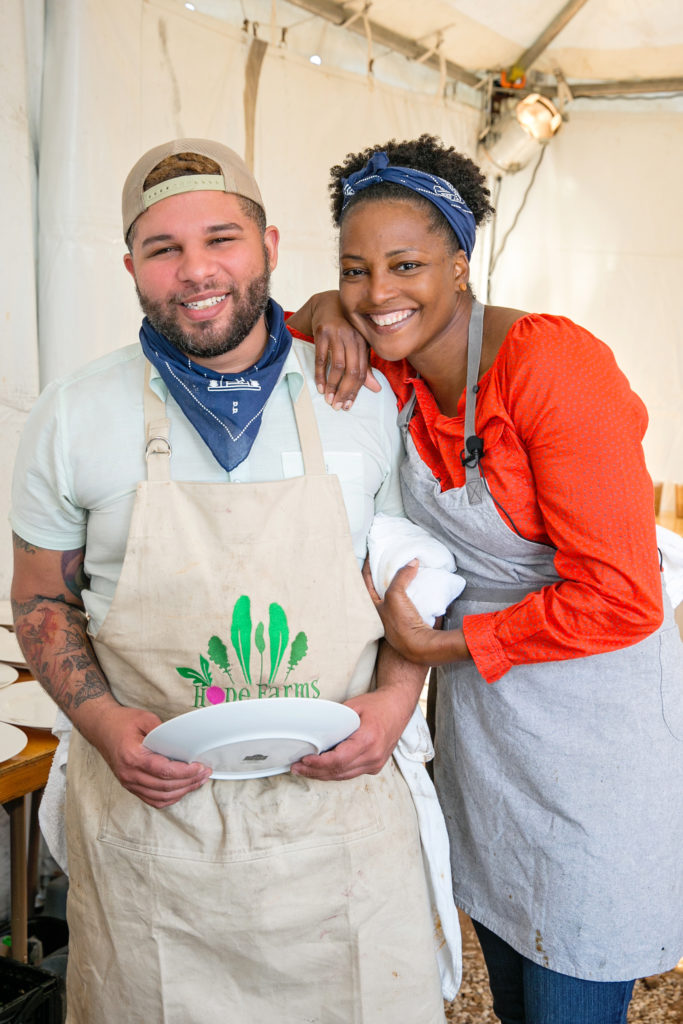 Chefs Dawn Burrell and Dominick Lee Chef Dominick Lee headline the Butcher's Ball held at The Halles in Round Top. (Photo by Emily Jaschke)